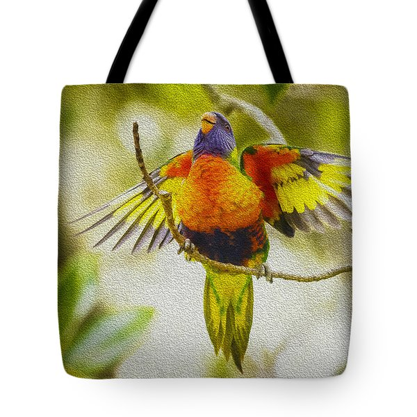 Baby Rainbow Lorikeet Tote Bag by Avalon Fine Art Photography
