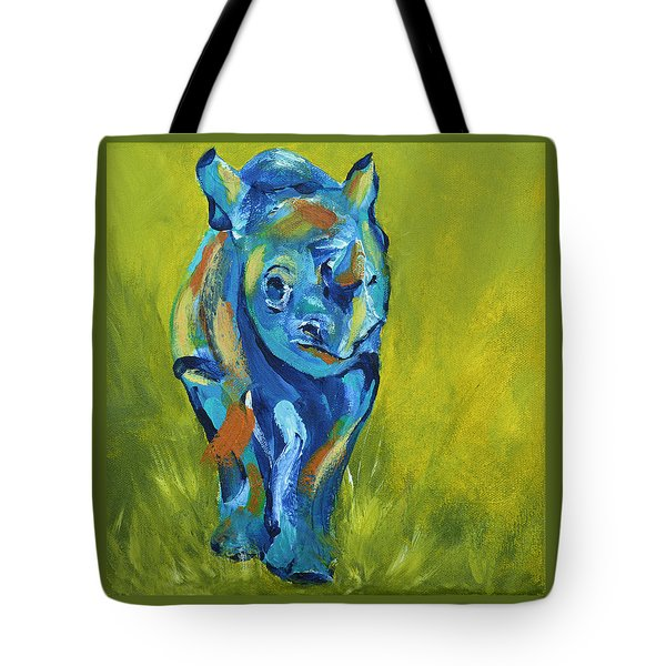 Baby Rhino Animal Art Painting Tote Bag by Catherine Jeltes
