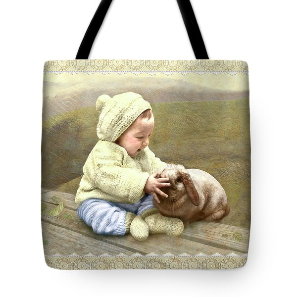Baby Touches Bunny's Nose Tote Bag