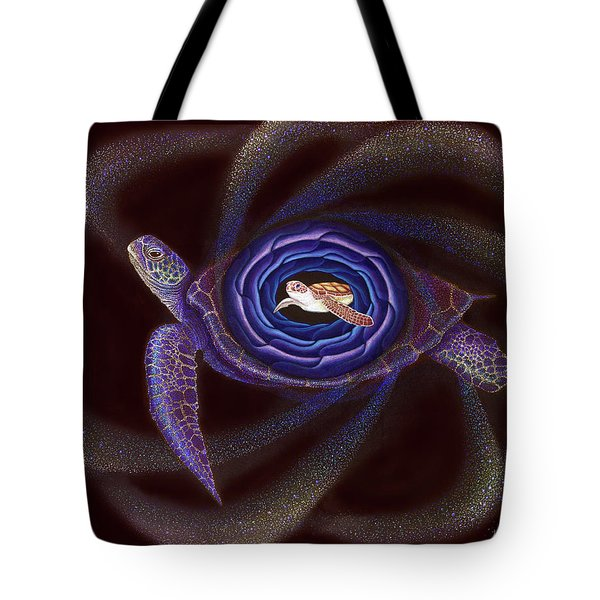 Baby Turtle Held By Mother Tote Bag