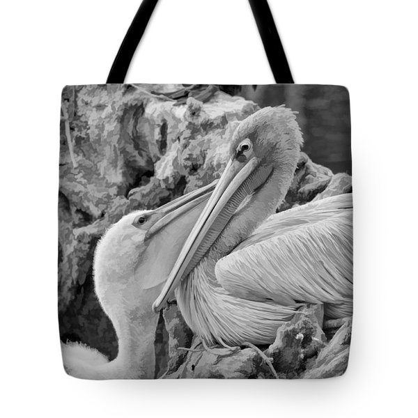 Baby White Pelican Talks To Mother White Pelican Tote Bag