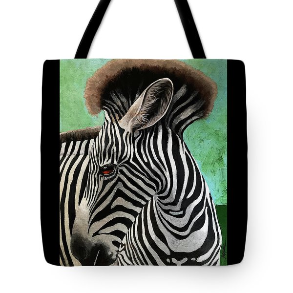 Tote Bag featuring the painting Baby Zebra by Linda Apple