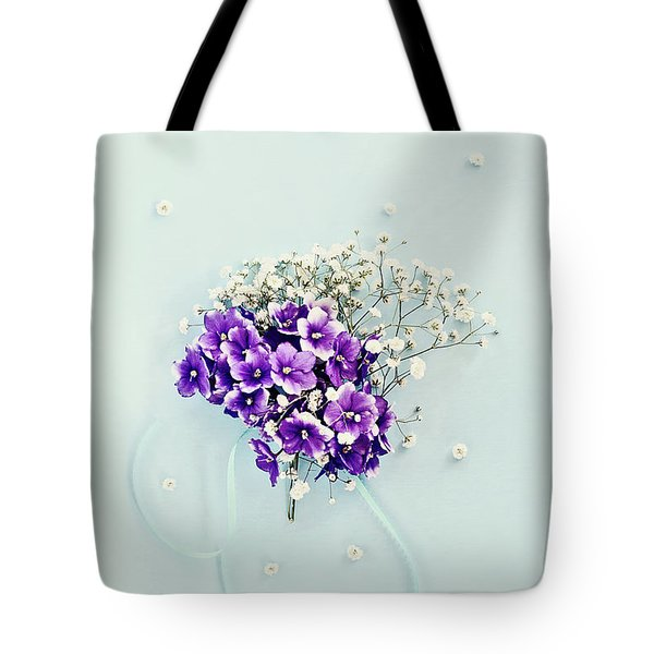 Baby's Breath And Violets Bouquet Tote Bag