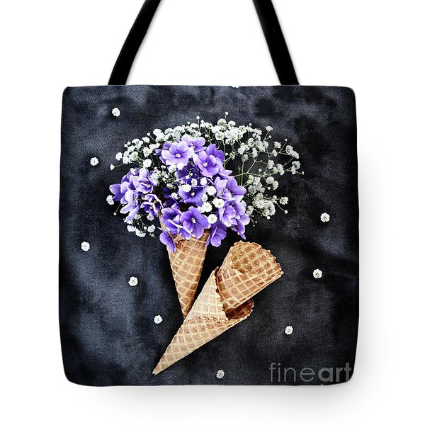 Baby's Breath And Violets Ice Cream Cones Tote Bag