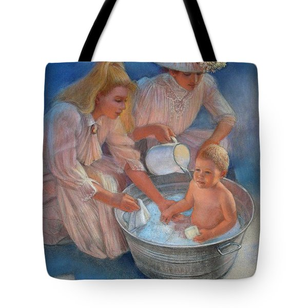 Tote Bag featuring the painting Baby's Summer Bath by Sue Halstenberg