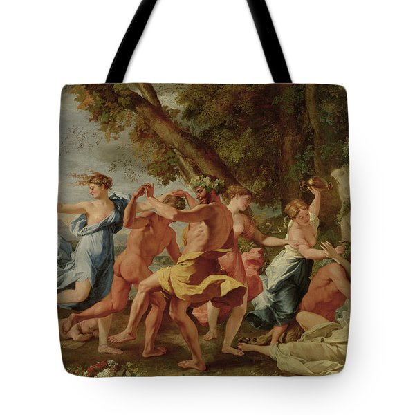 Bacchanal Before A Herm Tote Bag by Nicolas Poussin