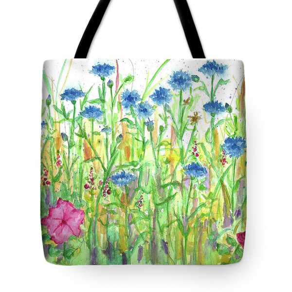 Tote Bag featuring the painting Bachelor Button Meadow by Cathie Richardson