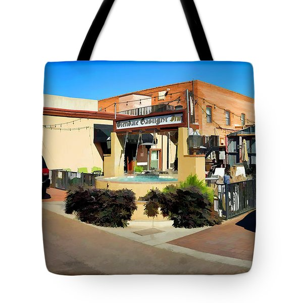 Back Alley View Of The Gaslight Inn Patio Tote Bag by Charles Ables