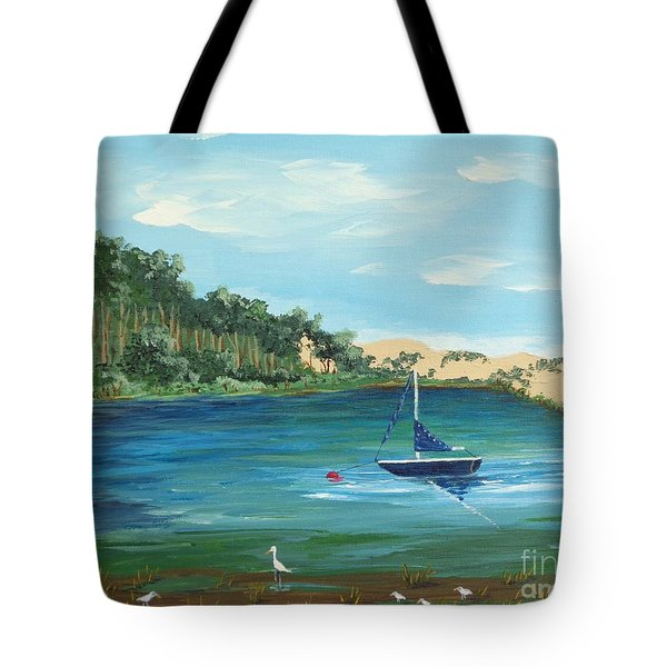 Tote Bag featuring the painting Back Bay From Back Bay Inn Los Osos Ca by Katherine Young-Beck