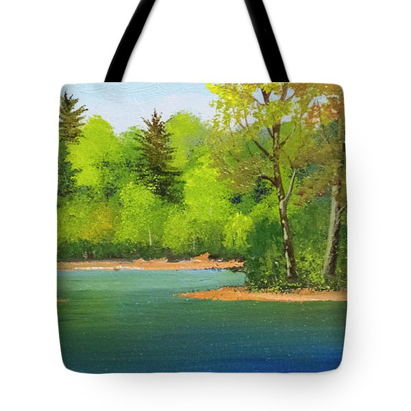 Tote Bag featuring the painting Back Country Pond by Frank Wilson