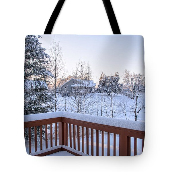 Tote Bag featuring the photograph Morning Sun Winter Light by Claire Turner