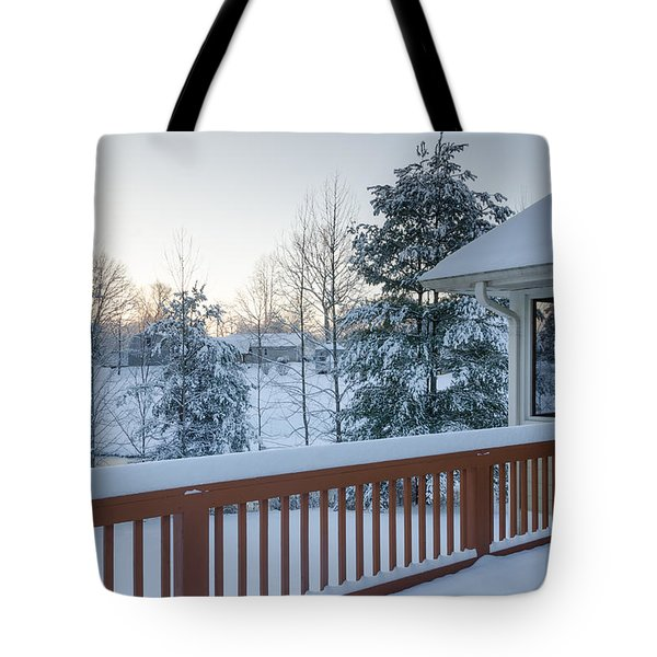 Tote Bag featuring the photograph Winter Deck by Claire Turner