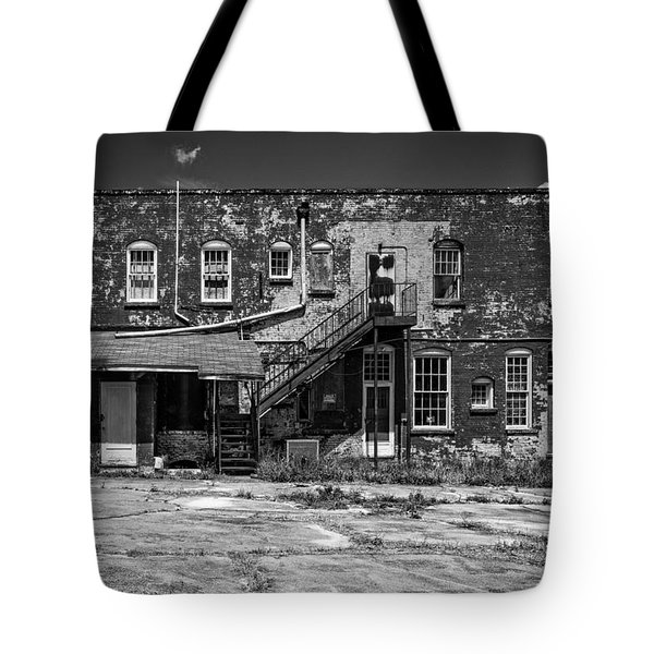 Tote Bag featuring the photograph Back Lot - Bw by Christopher Holmes
