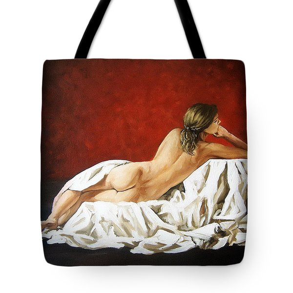 Tote Bag featuring the painting Back Nude by Natalia Tejera
