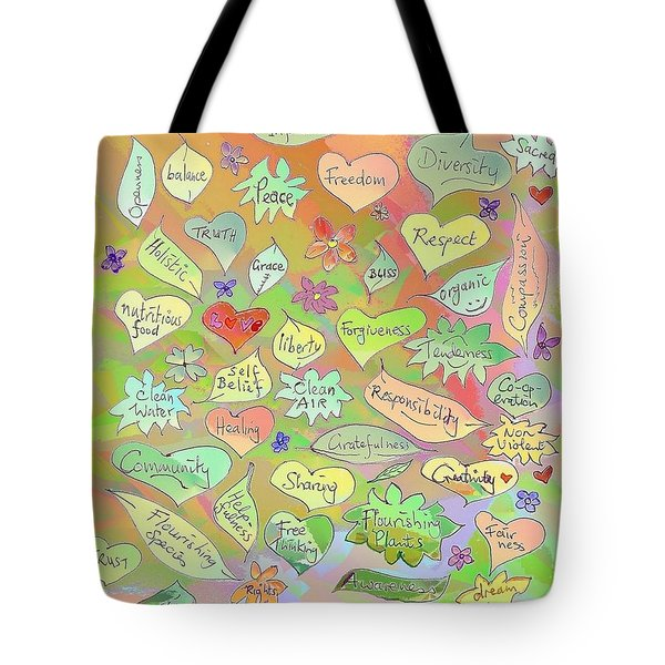 Back To The Garden Leaves, Hearts, Flowers, With Words Tote Bag