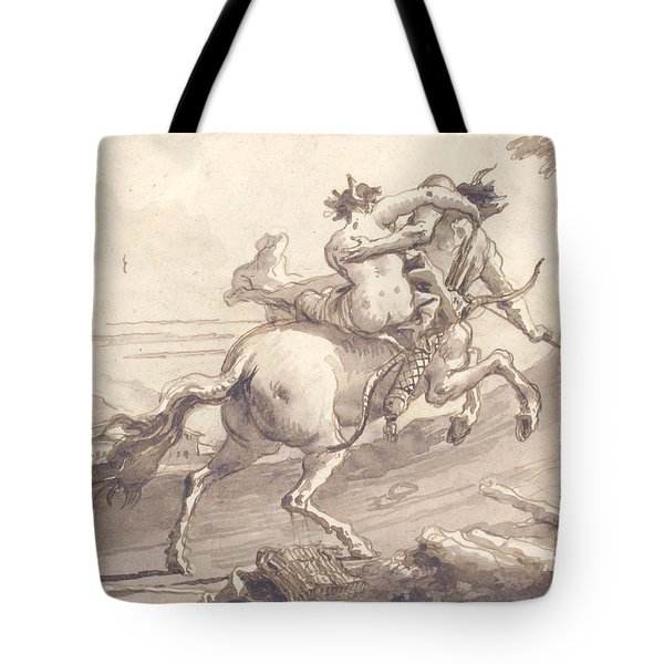 Back View Of A Centaur Abducting A Satyress Tote Bag