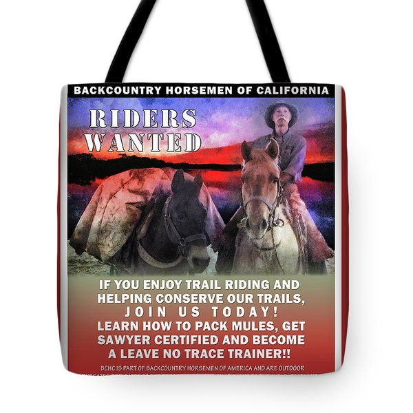 Backcountry Horsemen Join Us Poster II Tote Bag