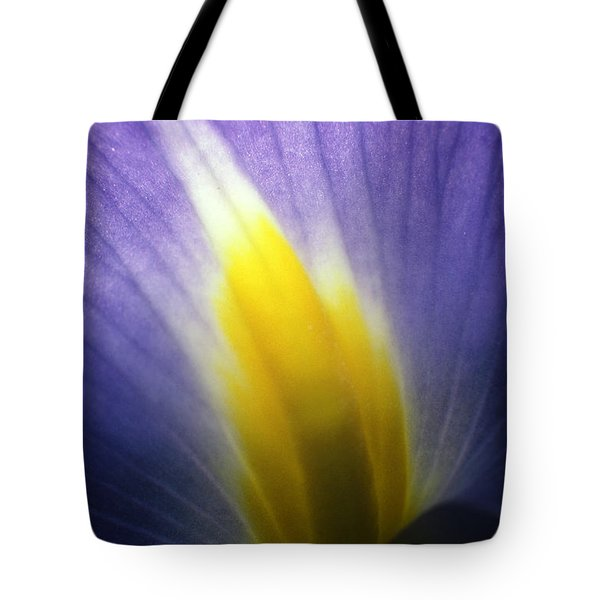 Backlit Iris Flower Petal Close Up Purple And Yellow Tote Bag
