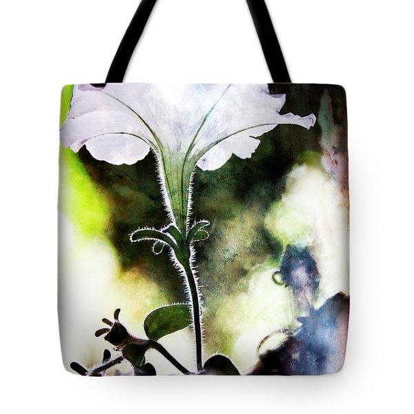 Backlit White Flower Tote Bag