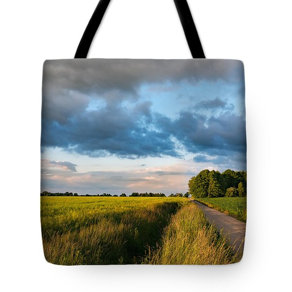 Tote Bag featuring the photograph Backroad Between The Fields by Dmytro Korol