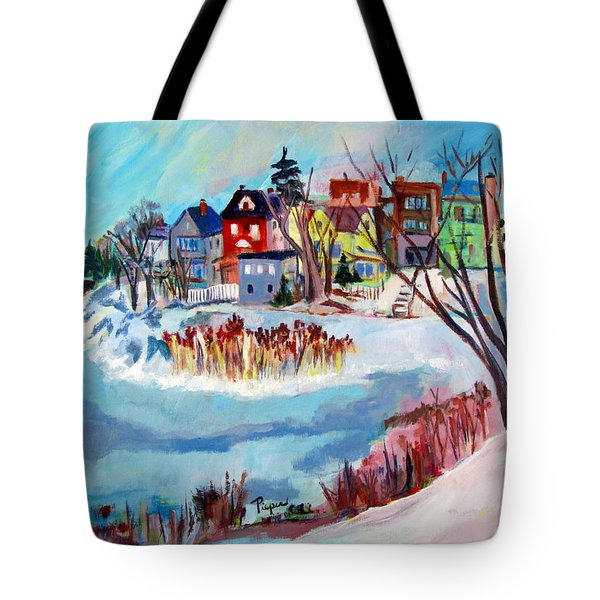 Backside Of Schenectady Stockade In February Tote Bag