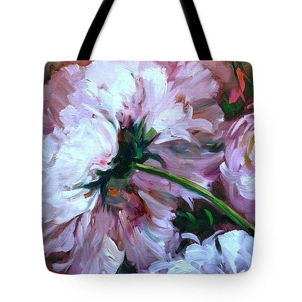 Backward Glance White Peony Tote Bag