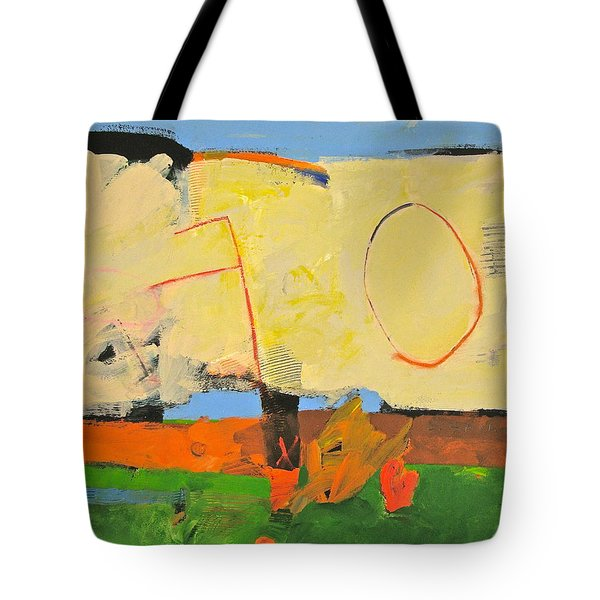Tote Bag featuring the painting Backyard-4-garden-m- by Cliff Spohn