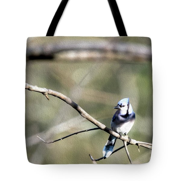 Backyard Blue Jay Oil Tote Bag