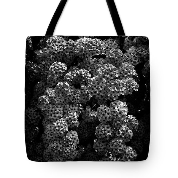 Backyard Flowers In Black And White 21 Tote Bag by Brian Carson