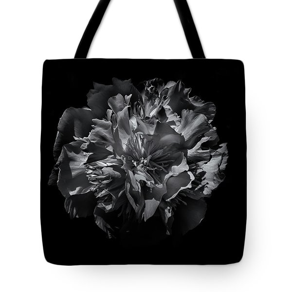 Backyard Flowers In Black And White 25 Tote Bag by Brian Carson