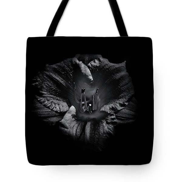 Backyard Flowers In Black And White 26 Tote Bag by Brian Carson