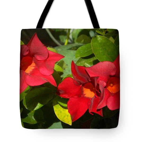Backyard Flowers Tote Bag