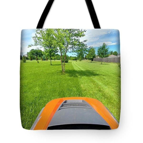Tote Bag featuring the photograph Backyard Mowing by Ricky L Jones