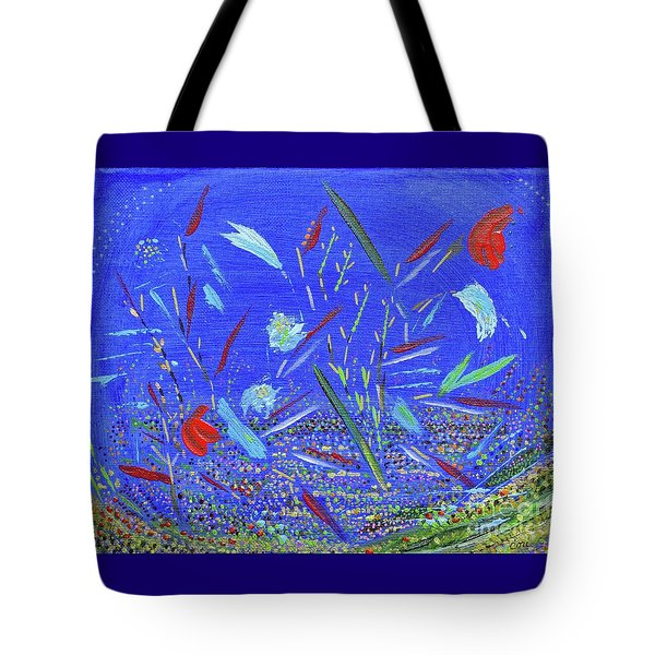 Tote Bag featuring the painting Backyard Party by Corinne Carroll