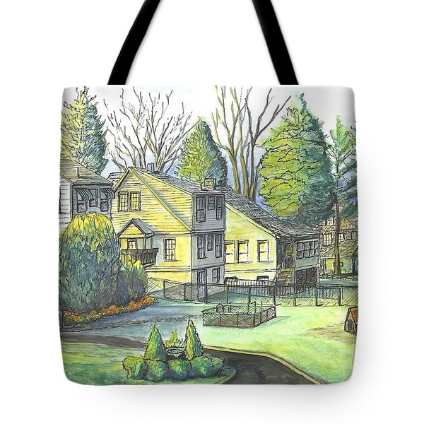 Hometown Backyard View Tote Bag by Carol Wisniewski