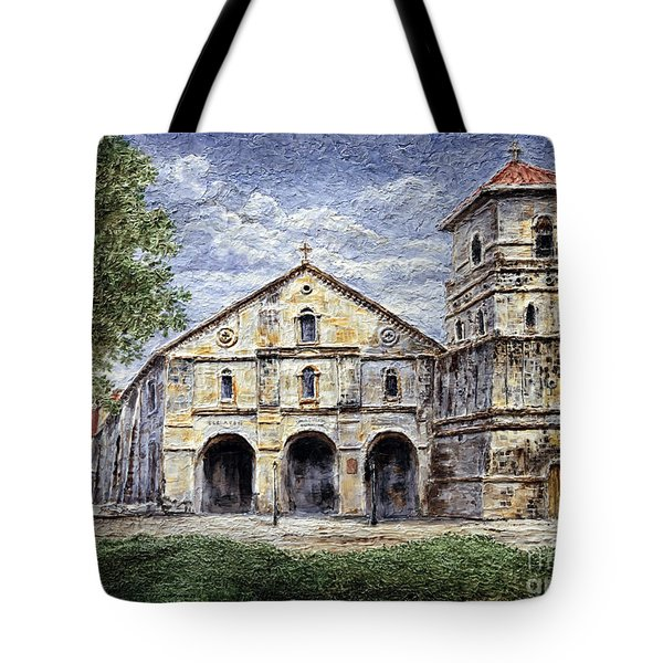 Tote Bag featuring the painting Baclayon Church by Joey Agbayani