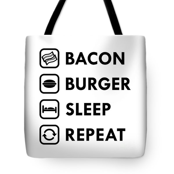 Bacon Burger Sleep Repeat Tote Bag by Shawn Hempel