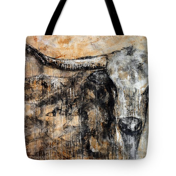 Bad Attitude Texas Longhorn Contemporary Painting Tote Bag by Jennifer Godshalk