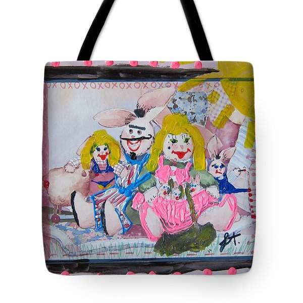 Tote Bag featuring the painting Bad Bunnies by Lisa Piper