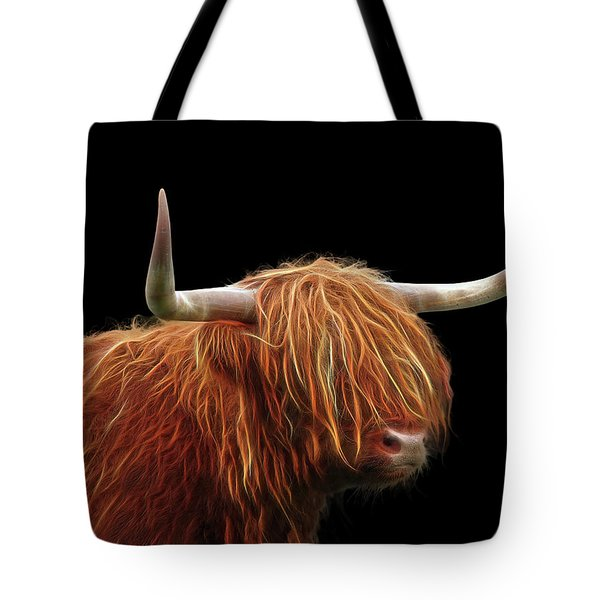 Bad Hair Day - Highland Cow - On Black Tote Bag