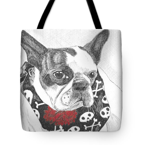 Tote Bag featuring the drawing Bad To The Bone by Arlene Crafton