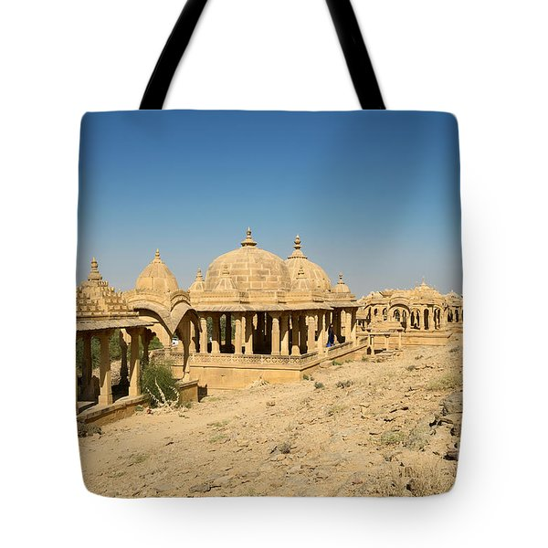 Tote Bag featuring the photograph Bada Bagh Of Jaisalmer by Yew Kwang