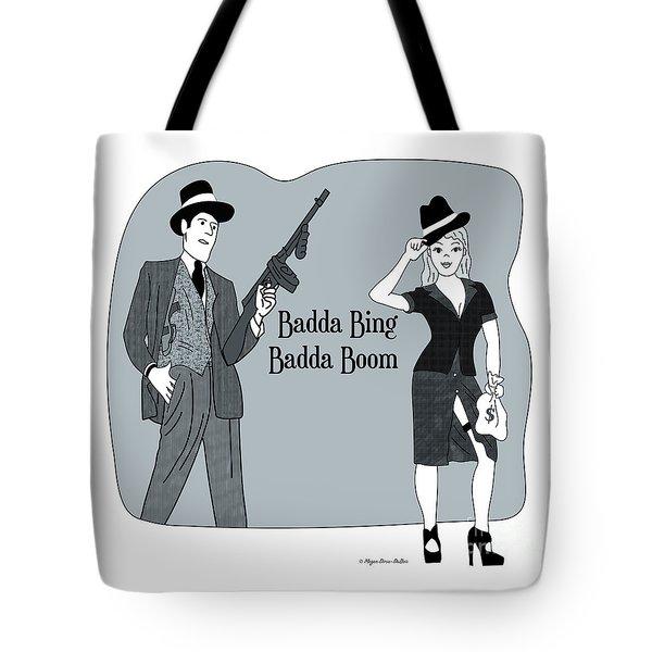 Tote Bag featuring the digital art Badda Bing Blue by Megan Dirsa-DuBois
