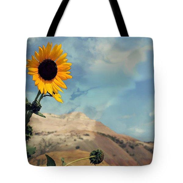 Badlands Of South Dakota Yellow Flower Tote Bag