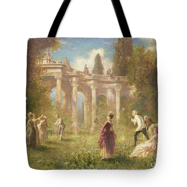 Badminton Players Tote Bag by Johan Friedrich Hennings