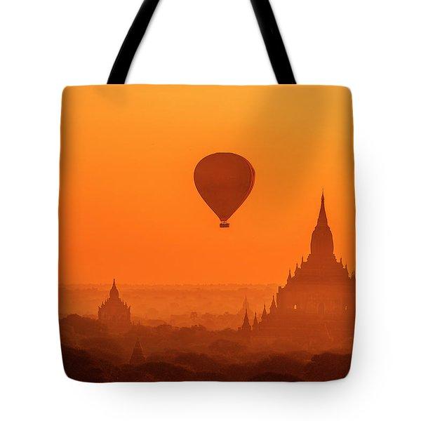 Bagan Pagodas And Hot Air Balloon Tote Bag