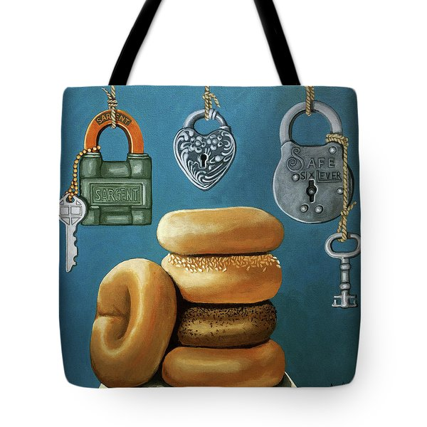 Tote Bag featuring the painting Bagels And Locks by Linda Apple