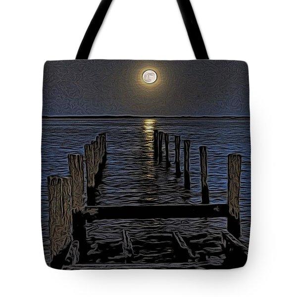 Bahamas Nocturne Woodblock  Tote Bag