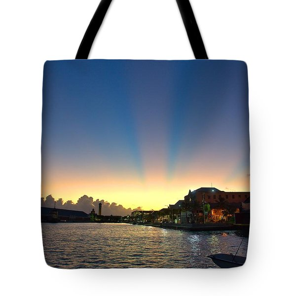 Bahamas Sunrise And Moon Tote Bag by Steven Richman