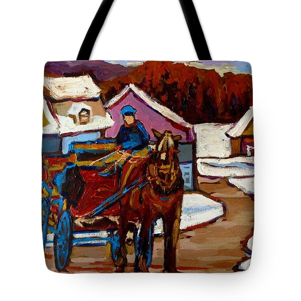 Baie Saint Paul Quebec Country Scene Tote Bag by Carole Spandau